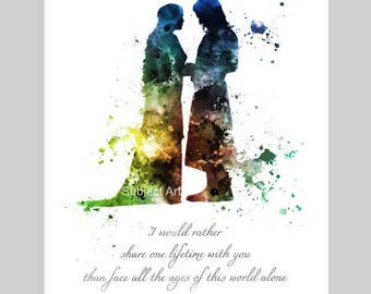 Aragorn and Arwen Quote, Lord of the Rings ART PRINT illustration, Colour Edition, Evenstar, Home Decor, Wall Art, Fantasy