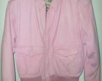 80's Vintage PINK Leather Bomber Jacket Ladies Size Small/Medium WOW! Paris Sport Club