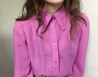 Bright Pink 70s Blouse