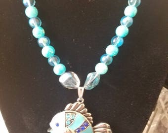 NECKLACE: Beachy Feel FISHY PENDANT Necklace with Blue Beading and Silver Chain