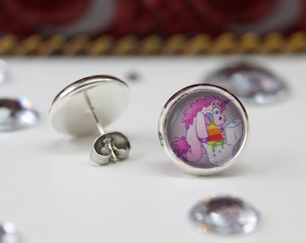 Fuck That earring, silver color, cloud, rainbow