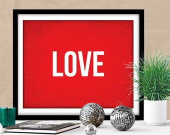 """PRINTABLE Art """"Love"""" INSTANT DOWNLOAD Love Sign, Holiday Decor Thanksgiving Christmas Decor, Typography Poster, Inspirational Poster"""