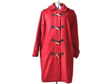 Red coat, Peacoat, women's coat, winter coat, ll bean coat, red wool coat, hooded coat with hood, large coat