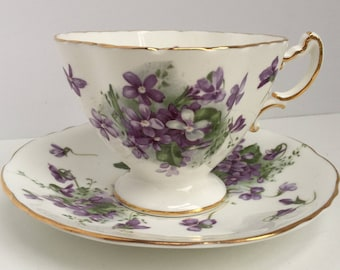 Vintage Hammersley Bone China Tea Cup and Saucer Victorian Violets