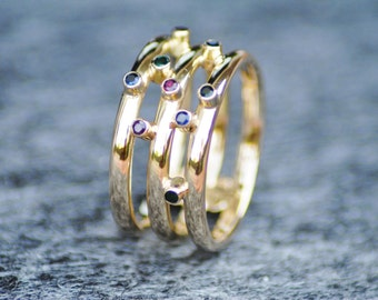 Gems Gold Ring, 18k Gold, Wide Ring, Ruby Ring, Emerald Ring, Sapphire Ring, Jewelry Gift, Stacking Ring, Statement Ring, 9 1/2 Size