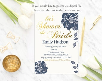 Navy White Bridal Shower Invitation, Floral Bridal Shower Invite, Navy Gold Bridal Shower Invitation, Printed Bridal Shower Invitation