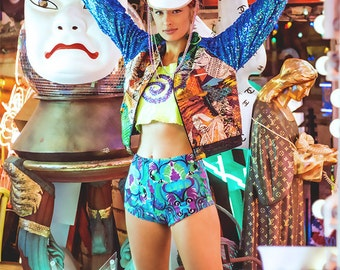 Galaxy Bomber Jacket with Blue Sequin Arms by Get Crooked