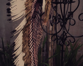 Extra Large  Black and white Feather Headdress (43 inch long ).