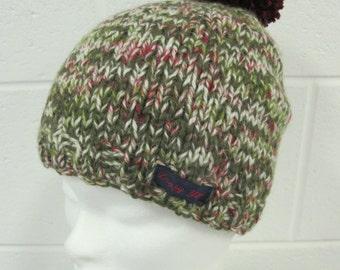 Green Fleck Handknit Beanie Hat with Pompom