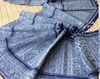 Vintage Hmong Batik Hemp Indigo Tribal Textile Rare Handmade Craft supplies