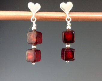 Red Venetian glass earrings, Heart earrings, Sterling heart earrings, Valentine jewelry, Valentine gift, red earrings, Square Hearts