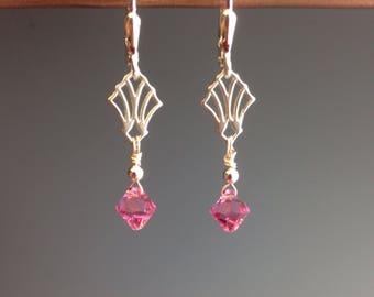 Pink Swarovski Earrings - Pink Jewelry - jewelry gift - sterling earrings - Graduation gift - Pink Earrings - little earrings - Pink Peony