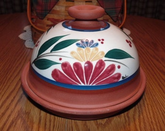 Covered Cheese Dish, Domed Butter Dish, 1990s, Hand Made. Signed by Artist, Glazed Terracotta Pottery, Floral Design, Cheese Server