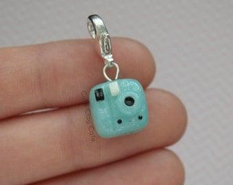 Kawaii Blue Polaroid , Polymer Clay Charm, Polymer Clay Necklace, Handmade Polymer Clay Jewelry