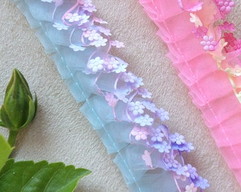 Ruffled Flowers Organza Ribbon Trim, Embossed Colorful Pretty Flowers Ruffle Edging, Blue or Pink Ruffled Ribbon Trim by Yard and Wholesale