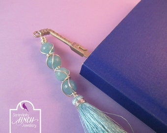 Sword Bookmark, Blue Quartzite Wire Wrapped Bookmark, Fantasy Bookmark, UK