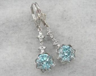 Floral Diamond and Blue Zircon Gemstone Earrings A5JP3N-P