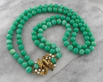 Double Strand Jade Glass Bead Necklace with Ornate Gold Tone Clasp 9JEZTW-P