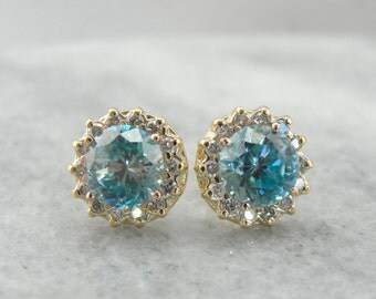 Lovely Blue Zircon and Diamond Halo Stud Earrings, Some of our Finest Stones 80U2XQ-R