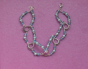 Something blue for bride, bridal jewellery, blue bracelet, silver bridal jewelry, blue crystal bracelet, bridal bracelet, silver bracelet