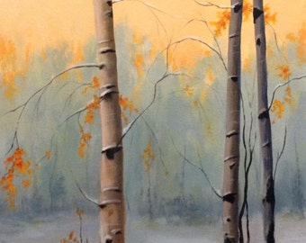 "Winter Birch Trees Original Painting CES - Snowy Landscape Winter Scene Tree Orange Yellow Blue ART 11"" x 14"" Forest Snow Canadian Autumn"