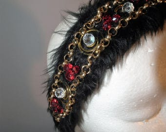 Be Dazzled new ZARA gem swarovski AB crystal encrusted bling luxe headband Celebrity Style red gold black faux fur headpiece millinery bling