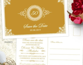 Medallion Wedding Anniversary Party Save the Date Postcard, 5 Color Options, Printable, Evite or Printed (US Only) Postcards