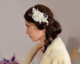 Wedding Hairpiece ,Bridal hair comb, Wedding hair comb, Ivory  Hair comb, Lace hair comb ,Wedding hair piece ,Bridal Headpiece, - DIANNE