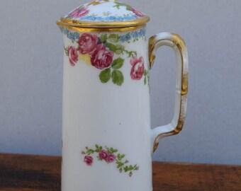 Limoges Porcelain Syrup Pot Creamer Jean Pouyat Small Blue Floral Band Pink Roses Antique Vintage