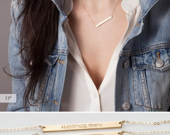 Name Bar Necklace • Personalized Nameplate Necklace • Long Skinny Bar Necklace • Silver, Gold Filled or Rose Gold Bar Necklace • LN130_40_H