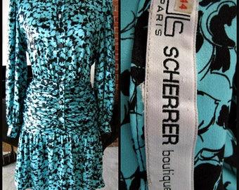 Jean Louis Scherrer Couture Dress / Jean Louis Scherrer Haute Couture dress / 80s French Couture Dress / fits M / Couture number 464110