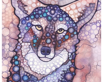 Thoughtful Coyote 5 x 7 print of watercolour artwork, purple & blush pink highlights, wild dog wolf canine, woodland forest animal portrait