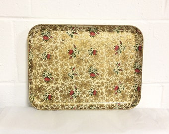 Vintage Gold Serving Tray Red Roses Alcohol Proof