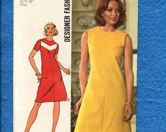 1970's Simplicity 5677 Slimming A-Line Dress with Chevron Yoke Detail Size 14 UNCUT