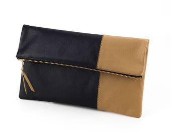 Leather Foldover Clutch, Leather Fold Over Clutch, Handmade Leather Clutch, Color Block Purse, Striped Leather Clutch, Black and Taupe
