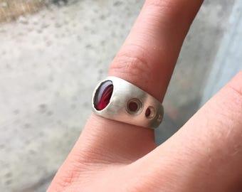 Sterling Silver Garnet Ring - Size 7.5