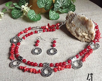 Red Silver Disc Necklace and Earrings, two-strand necklace, red necklace, redesigned, adjustable