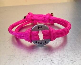 BE BRAVE Bracelet - Personalized One Washer Double Strap Paracord Bracelet