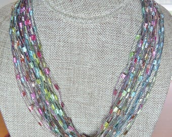 Gorgeous Trellis Scarf Necklace in Pastel Shades  (SKU 106)
