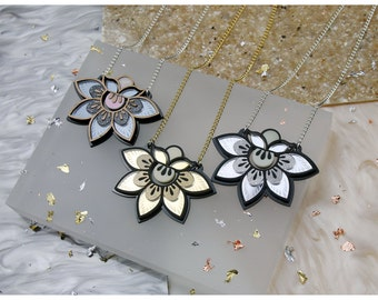 Petal Flower Statement Pendant Necklace. Etched Patterned Floral, Gold Silver Gunmetal Wood. Sparkle Glitter Pearlescent. Pattern Mirror