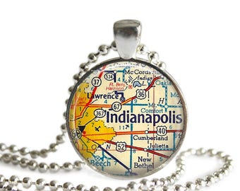 Indiana jewelry Indianapolis map necklace vintage atlas pendant charm.