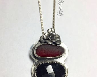 Sea Glass Rare Red And Black Onyx Gemstone Pendant With Flower And Chain Hand Forged Stamped Necklace