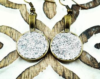 Silver glitter earrings, sparkle jewelry, faux druzy earrings, bronze tone earrings, like sparkly diamonds, handmade, 15% off shipping