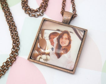 Personalized Photo Necklace - Photo Pendant - Personalized Gift - Custom Necklace - Photo Keepsake - Picture Necklace - 25 mm / 1 in Square