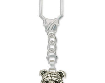 Bulldog Key Ring Jewelry Sterling Silver Handmade Dog Key Ring BD16-KRE