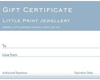 Gift voucher Little Print Jewellery and Accessories