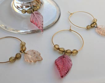 Pink and Gold Glass Leaf Wine Charms - Set of 4