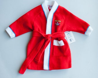 NOS Vintage 80's 90's Carter's Red Pro Ball Pajama Robe / Long Sleeve Bathrobe / 2T