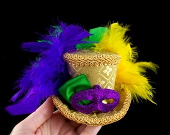 Mardi Gras Gold, Purple, Yellow and Green Mask Hat - Small Mini Top Hat Fascinator, Alice in Wonderland, Mad Hatter Tea Party, Derby Hat