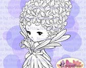 PNG Digital Stamp - Hyacinth Sprite - digistamp - Whimsical Flower Fairy - Fantasy Line Art for Cards & Crafts by Mitzi Sato-Wiuff